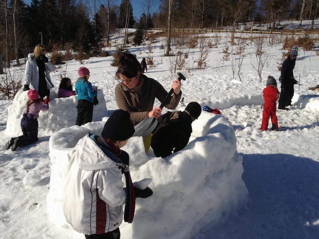 classe de neige, igloo, enfants